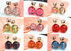 Hot 9Colors Candy Rainbow Double Side Two Ball Earring Stud Rhinestone Crystal