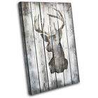 Stag Deer Vintage Wood Animals SINGLE CANVAS WALL ART Picture Print