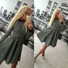 Women Long Sleeve Dress Cocktail Party Mini Short Pullover Jumper Dress Sweater
