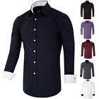 New Fashion Mens Long Sleeve Casual Slim Fit Dress Stylish Cross Line Shirt S-XL