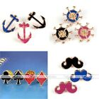 Enamel Gold Metal Anchor Mustache Rudder Pins Brooch Breastpin Boy Girl Gift