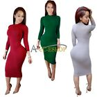 Women Turtleneck Long Sleeve Casual Cocktail Bodycon Stretch Party Midi Dress Up