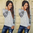 2015 Fashion Womens Long Sleeve Casual Lace Blouse Loose Cotton Tops T Shirt