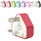 CE COLOURED USB 3 PIN UK WALL MAINS PLUG CHARGER FOR SAMSUNG GALAXY A3 A5 A7 S6