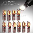 10x T10 W5W 501 Car Side Light Bulbs 3014 20 SMD LED 3W Canbus Error Free White