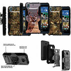 FOR HTC DESIRE + ONE PHONES COVER  CASE DUAL ARMOR HYBRID HOLSTER CLIP Tree