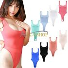 Womens Ladies Stretch High Cut Thong Bodysuit Leotard Top Underwear Open Crotch