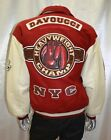 Men's Davoucci THE CHAMP Burgundy/Beige 100% Genuine Leather & wool Jacket