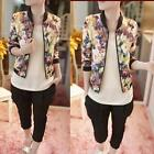 Women Fashion Stand Collar Long Sleeve Zipper Floral Printed gift Bomber Jacket