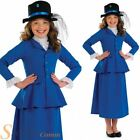 Girls Blue Victorian Mary Poppins Nanny Fancy Dress Costume Book Week Outfit