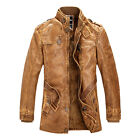 ~VINTAGE~ New Mens Pu Leather Motorcycle Long Trench Coat Winter Jacket Overcoat