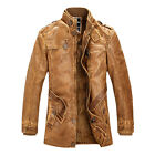 Plus Size Mens PU Leather Motorcycle Long Trench Coat Winter Jacket Overcoat
