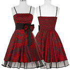 50s Style Checked BLACK+RED PLUS SIZES Peasant Top On/Off Shoulder Dresses 4-18