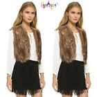 Women Lady Faux Fur Vest Sleeveless Coat Outerwear Long Hair Jacket Waistcoat