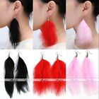 Bohemia Handmade Boho Natural Feather Dangle Tassel Hook Earrings Women Girl