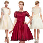 Short Sleeve Mini Ball Cocktail Evening Prom Party Dress Formal Applique Wedding