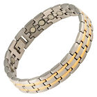Magnetic Therapy Bracelet Stainless Steel Mens High Power Magnets 2 Tone Stripes