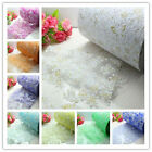 "5/120yd 6"" Roll Of Crystal Printing Organza Roll Sheer Fabric Party Wedding"