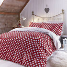 Catherine Lansfield Home Brushed Hearts Cotton Reversible Duvet Cover Set, Red
