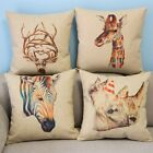 "Cartoon Colorful Animal Home Decor Pillow Case Cushion Cover Square 18"" Linen"