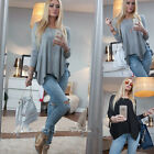 Women Fashion Long Sleeve Casual Blouse Plain Asymmetrical Hem Loose Tops Shirt