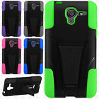 For Kyocera Hydro View Advanced KICK STAND Rubber Case Phone Cover Accessory