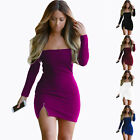 Women's Off Shoulder Long Sleeve Evening Party Cocktail Bodycon Short Mini Dress