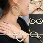 Fashion Gold Snake Round Hoop Earrings & Bracelet Chain Adjustable Jewelry Set