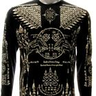 ls17b Irezumi Tattoo Long Sleeve T-shirt Hindu Magic Amulet Bull Bow Soft Tee