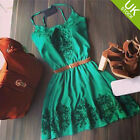 UK Sexy Women Ladies Green Floral Sleeveless Kneek Party Dress Size 6 US