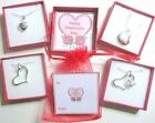 Silver Heart Necklaces in Personalised Gift Box Bridesmaid Birthday Valentines