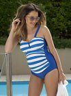 Angel Maternity One Piece Pregnancy Swimwear in Blue Stripes - AC14G