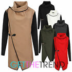 Womens Italian Oversized Wool Blend Coat Ladies Wrapover Asymetric Hem Jacket