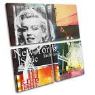 New York Abstract Grunge Vintage MULTI CANVAS WALL ART Picture Print