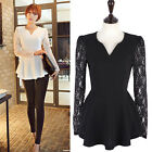 Women Lace Long Sleeve Shirt Ladies V Neck Tops Chiffon Blouse Pullover T-Shirts