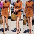 Women Bodycon Slim Dress Long Sleeve O-Neck  Package Hip Faux Suede Mini Dress