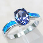 DELIGHTFUL 3 CT TANZANITE BLUE OPAL 925 STERLING SILVER RING SIZE 5-10