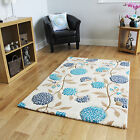Small Large Blue Rugs Floral Modern Rugs Easy Clean Soft Touch Living Room Mats