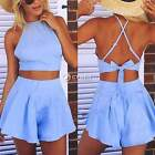 Sexy Women Bodycon Sleeveless 2 Piece Set Party Dress Outfit Bustier Tops+Shorts