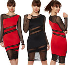 Womens Mesh Bodycon Stretch Sheer Long Sleeve Knee Length Ladies Party Dress