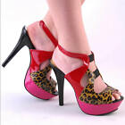 NEW WOMENS RED PINK CHEETAH PLATFORM SLINGBACK ABSTRACT CUTOUT HEELS