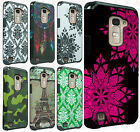 For LG K7 / Tribute 5 HARD Hybrid Rubber Silicone Case Phone Cover +Screen Guard