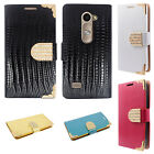 For Cricket LG Risio Premium Leather Wallet Case Pouch Flip Crocodile Skin Cover