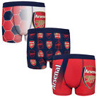 Arsenal FC Official Soccer Gift 3 Pack Boys Crest Boxer Shorts