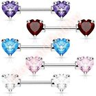 Double Front Facing CZ Heart Nipple Bar Body Jewellery CHOOSE SINGLE OR PAIR