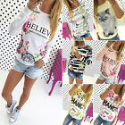 Women Loose Long Sleeve Casual Blouse Shirt Tops Fashion Floral Pullover T-shirt