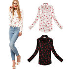 Lady Stand Collar Button Chiffon Red lip Print Long Sleeve Shirt Tops Blouse