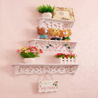Set of 3 White Shabby Chic Filigree Style Shelves Cut Out Design Wall Shelf Home