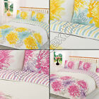 FLORAL PRINTED STRIPED REVERSIBLE PINK YELLOW WHITE QUILT DUVET COVER BED SET