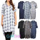Womens Dip Hemline Longline Check Shirt Ladies Checked Print Collared Long Dress